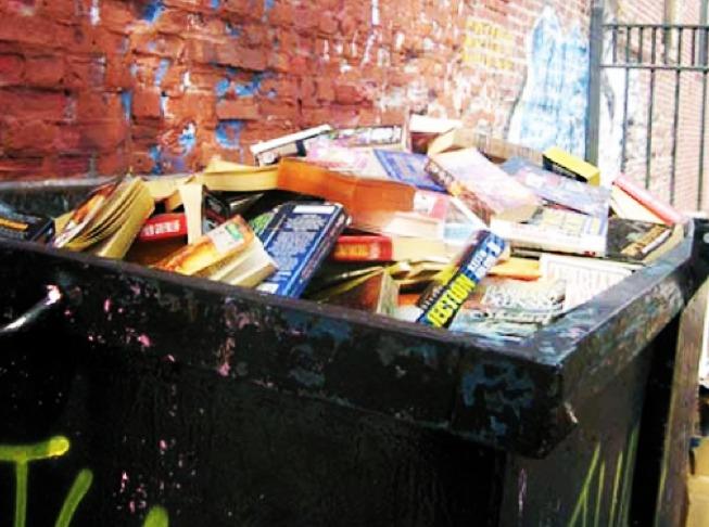 books in trash